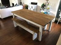 6ft dark oak farmhouse dining table and two 5FT benches