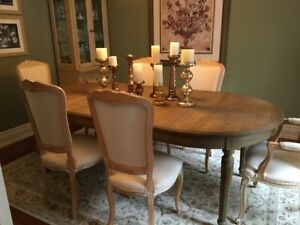 French provincial, pickle pine wood, cream dining chairs