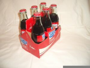 6 Pack of Full Coco Cola Glass Bottles (2004 Athens Olympics)