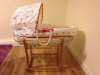 FREE - Mothercare little circus Moses basket, stand and bedding