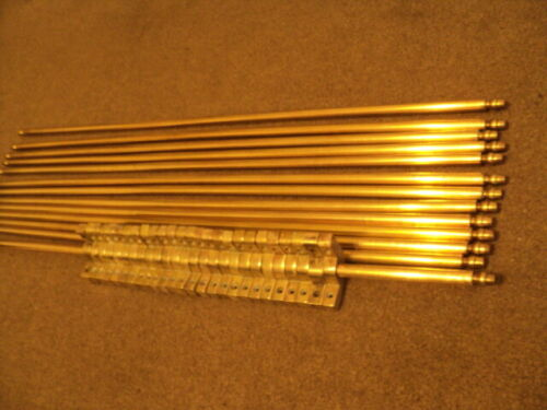 SET OF 13  VINTAGE SOLID   VIC / EDW   STAIR RODS AND    BRACKETS