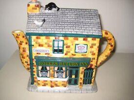 "Coronation Street Novelty Teapot Depicting The ""Rovers Return Inn""."