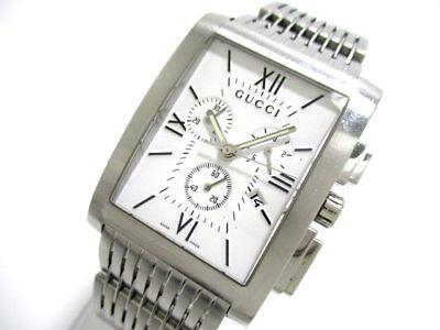 Auth GUCCI 8600M Silver Stainless Steel Men