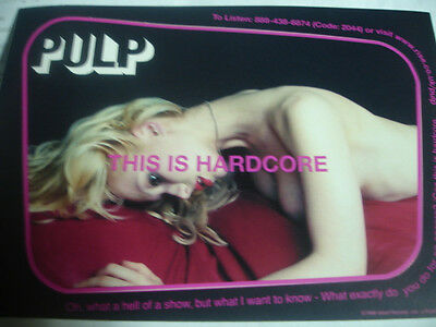 """Pulp """"This is Hardcore"""" MINT 1998 Sticker Postcard LOOK risque"""