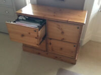 Filing cabinet, four drawer, pine, good condition.