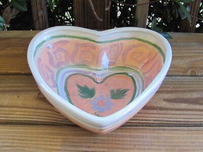 Gail Pittman~Large Bowl~Heart Shape~Purple Flowers~Green Leaves~Peach Trim