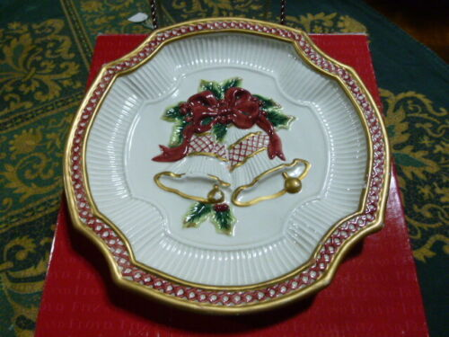 FITZ & FLOYD Essentials Christmas Holiday Canape Cookie Plate With Bells