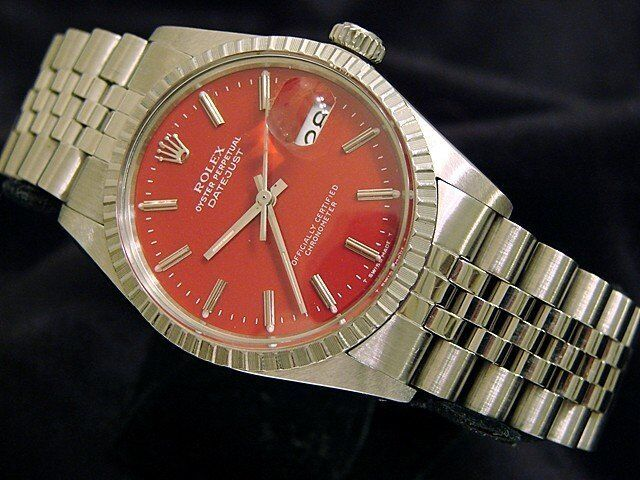 Rolex Datejust Mens Stainless Steel Watch Quickset Jubilee Band Red Dial 16030