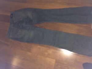 size s        front leather jean      back jean material