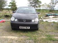 VW POLO 2002 1.2 CC. 12 VALVE 3 DOOR PETROL. DAMAGE ON REAR QUARTER.