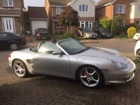 Porsche Boxster S, Silver with Blue Leather interior and matching hood,64000 miles