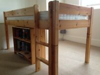 Solid Wood Single Cabin Bed with mattress and desk and bookcase