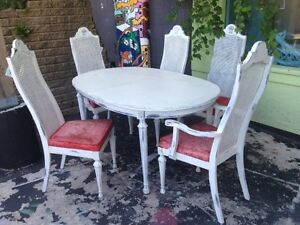 Vintage wood dining table and chairs
