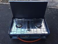 Double stove and grill portable with lid