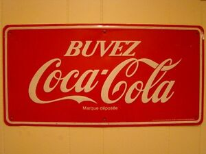 antique enseigne coca cola en métal avec relief de1950 a 1960