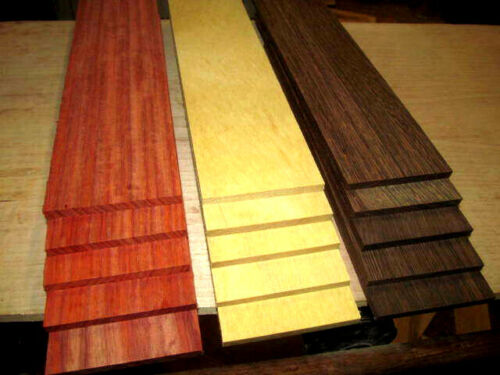 "15 PIECE MULTIPAK THIN EXOTIC WENGE, YELLOWHEART, PADAUK 12"" X 3"" X 1/4"""