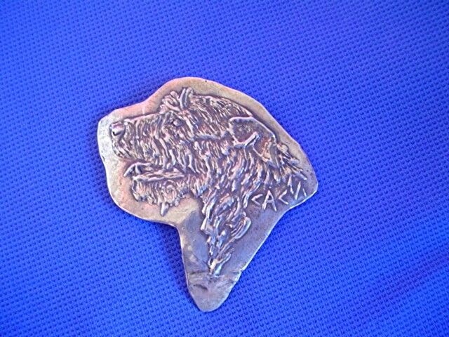 Original Irish wolfhound pin 1/1 STERLING silver sighthound by Cindy A. Conter