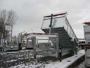 Dompeur HD 7X14 Gooseneck 2 essieux 8000 lbs et coté 36 pouces.