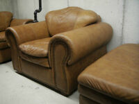 CAMEL CLASSIC 100% BUFFALO LEATHER 2 SOFA CHAIRS AND OTTOMAN