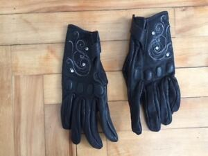 Ladies Leather Bike glove fancy with crystal decor 40