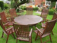 Garden Furniture Set, Large Table and 8 Arm chairs. Free Delivery