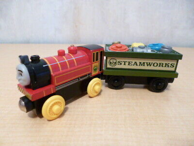 THOMAS WOODEN RAILWAY 'Victor' ( 2003) and 'Steamworks Spare Parts Car' (2003)