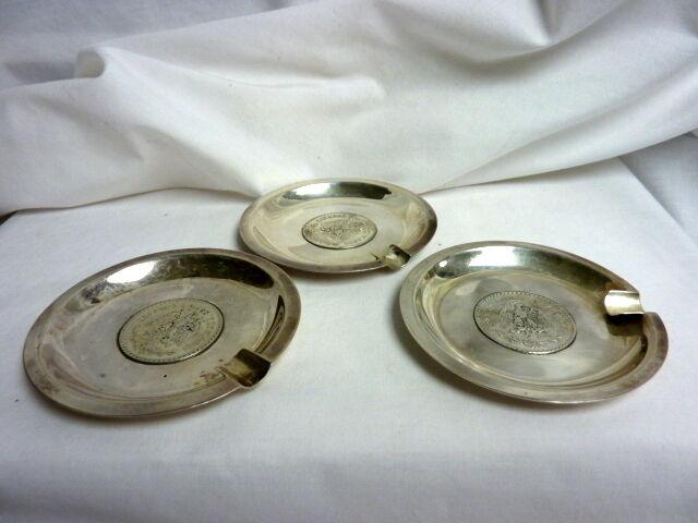 Vintage Sanborns Sterling Silver Ashtrays Set of 3 w/ Silver Un Peso Coin I-3445