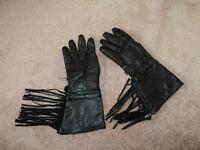 Ladies Fringed Leather Gauntlet Gloves