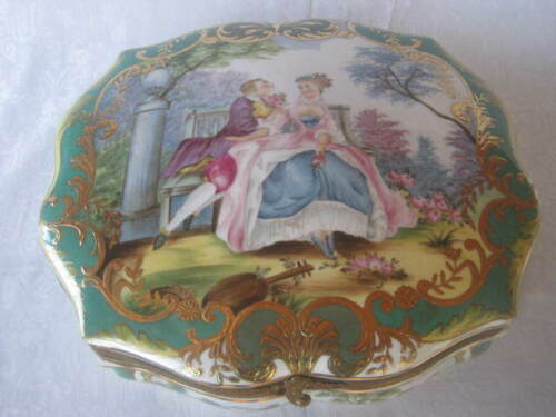 Mid-1800s Louis XIV French Sevres porcelain bronze shatula Jewelry strong box