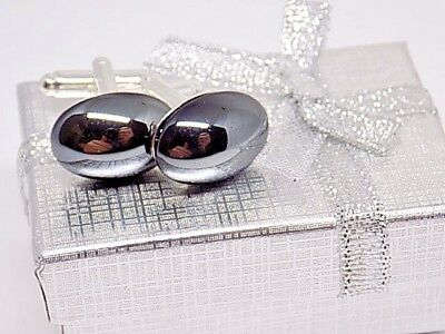 - Handmade Onyx Hematite Oval Cufflinks, Silver Setting, Gift Boxed!