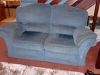 2 x Two Seater Upholstered Double Recliner Sofas, Blue