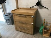 Drawers with baby changing top from mamas and papas