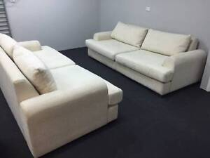 Freedom 2 x Three Seater Fabric Sofas - Can Deliver Hunters Hill Hunters Hill Area Preview