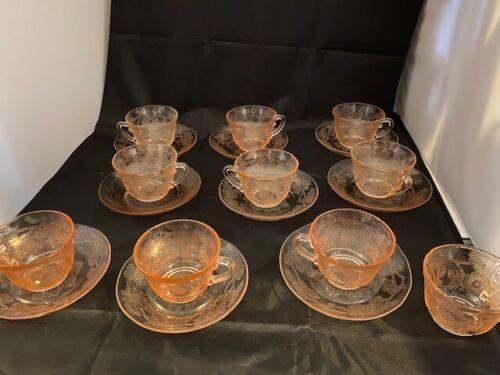 "MACBETH EVANS DOGWOOD PINK 9 DEPRESSION ERA GLASS 2 1/2"" THIN CUP & SAUCER SETS"