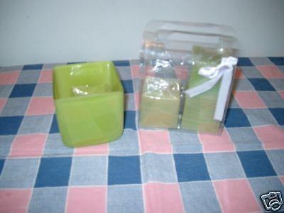 Lime Green Square Vase Candleholder 4 Matching Candles Green Square Candle