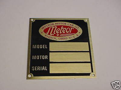 Meteor Motor Car Co. Data Plate acid etched brass Piqua Ohio