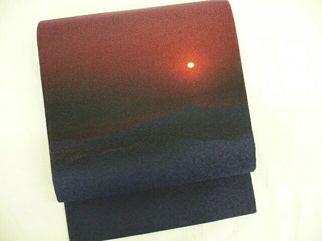 UNUSED Indigo Silk Japanese FUKURO OBI w/Sunset Desert Scenery, RAKKAN Q509