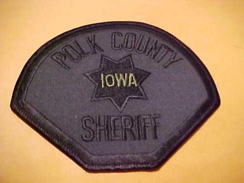POLK COUNTY IOWA POLICE PATCH SHOULDER SIZE UNUSED DARK GREEN/BLACK