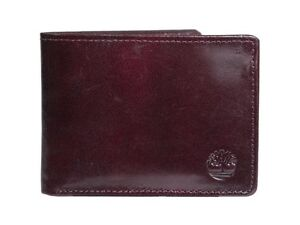 Timberland D74387/27 Men's Leather Wallet Flip Up Passcase Bifold Black Cherry