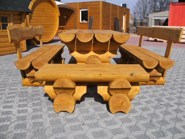 1m rundbohlen sitzgarnitur tisch 2 b nke biergarten sitzgruppe parkbank holzbank eur 549 00. Black Bedroom Furniture Sets. Home Design Ideas