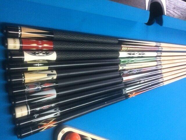 Pack of 5 Maple American Pool Cues 13mm Laperti tips - Brand New
