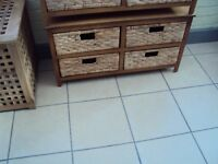 wooden unit with 4 basket weave drawers