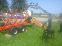 ATV Logging Trailer with grapple and Deisel motor