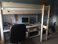Cabin bed,Loft bed with mattress.