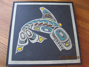 Native Indian Etched Aluminum Plaque KILLER WHALE Handmade in BC