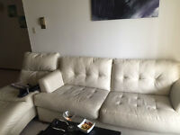 Ivory leather sofa and chaise set