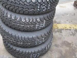 185/60 R15 GOODYEAR NORDIC WINTER TIRES ON FORD FIESTA STEEL RIMS USED SNOW TIRES (SET OF 4 - $360.00) - APPROX. 85% TRE