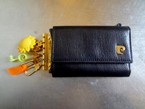Vintage Pierre Cardin Key Wallet Black Leather Tri-Fold 6 Key Holder
