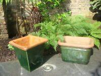 Two Dark Green Glazed Garden Earthenware Pots.