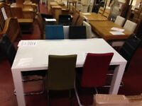 New White high gloss Dining table with 4 grey chairs Only £349 in stock